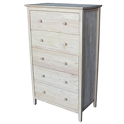 "International Concepts BD-8005 Dresser - Unfinished wood, easy to finish 5 drawers with euro glides Distance from floor to bottom of apron: 3.9"" - dressers-bedroom-furniture, bedroom-furniture, bedroom - 41jSBxT2tNL. SS400  -"