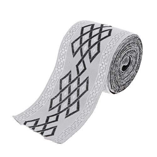 P Prettyia 5,5 Yard Retro Borte Stoffborte Webband Stoffbänder Stoffbordüre Nähen Band, Graue Bänder zum Basteln & Nähen - 6cm