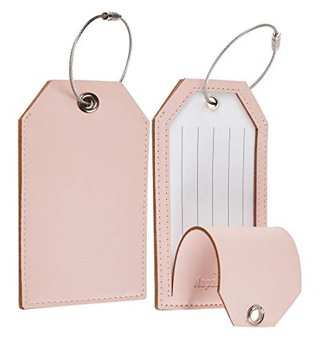Toughergun Leather Instrument Baggage Bag Luggage Tags with Privacy Cover 2 Pcs Set (Pink Lotus)