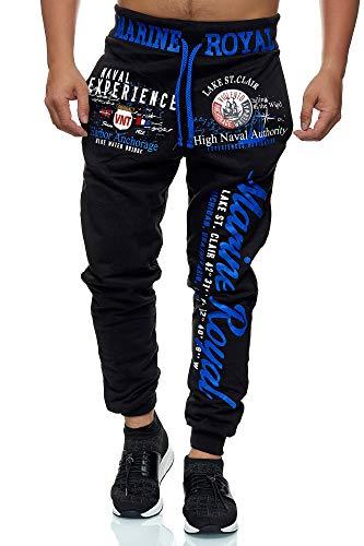 L.gonline Jogginghose Herren lang   Trainingshose Baumwolle   Sporthose mit Bündchen   Enger Beinabschluss   Marine 5258 (M, D.Blau)