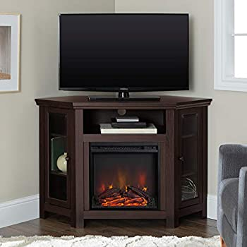 Walker Edison Alcott Classic Glass Door Fireplace Corner TV Stand for TVs up to 55 Inches 48 Inch Espresso