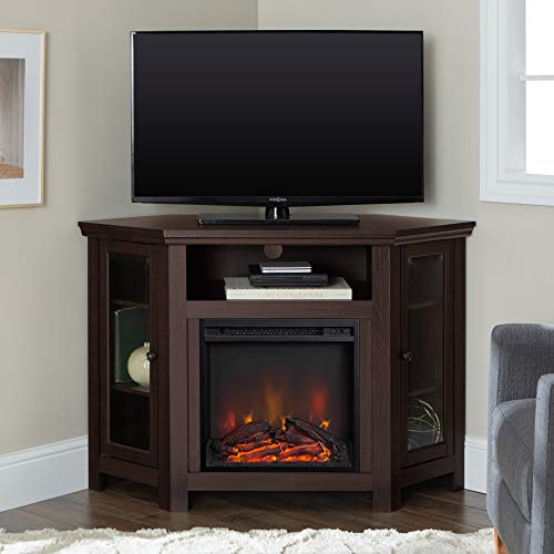 Walker Edison Alcott Classic Glass Door Fireplace Corner TV Stand for TVs up to 55 Inches, 48 Inch, Espresso