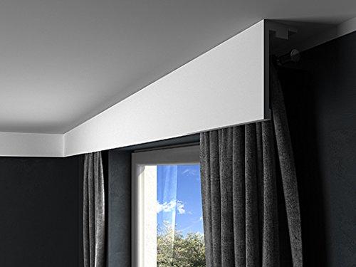 MARDOM DECOR Gardinenblende I QL016 I Stuckleisten Gardinen & Stoff Blende für indirekte LED Beleuchtung konzipiert I 2,40 m x 18,0 cm x 8,0 cm