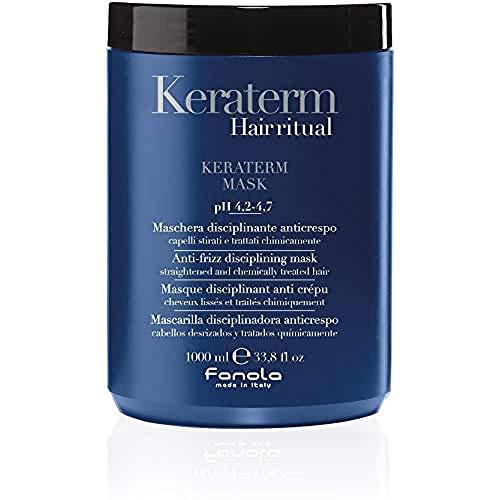 FANOLA Mascarilla KERATERM Keratina 1000ML 1L - Disciplinadora Anticrespo - Cabellos Desrizados Tratados Químicamente