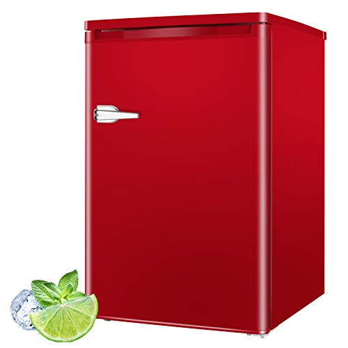 RMYHOME 3.0 Cu.ft Compact Upright Freezer, Free Standing Mini Freezer with Single Door and Shelves, Adjustable Leveling legs for Home, Office, Dormitory, Apartment (Red)