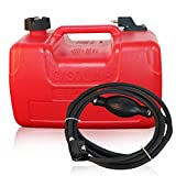 3.2 Gallon Marine Boat Portable Fuel Tank,12L Replacement Fuel Tanks Outboard Motor Gas Storage Engine Fuel Tank+Fuel Line,Light Weight,Plastic Polyethylene Made,Red