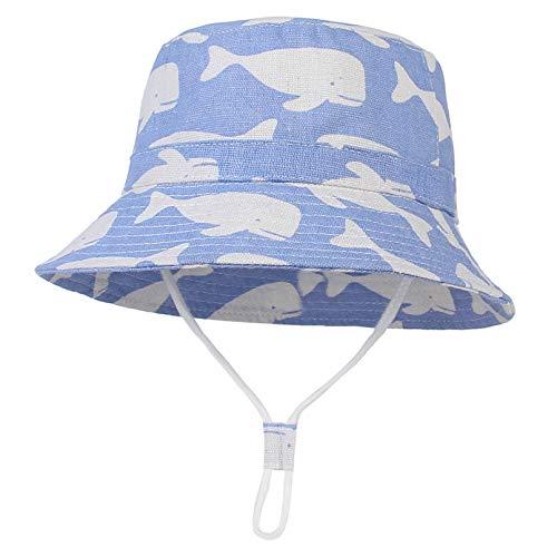 GEMVIE Baby Sun Hat Bucket Beach Wide Brim Adjustable Cotton Sun Protection Hats Printed Dolphin Infant Toddler Kids Girl Boy Sunhats