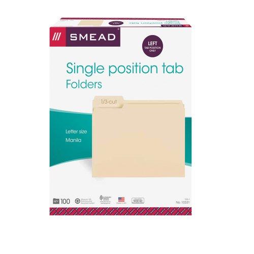 Smead File Folder, 1/3-Cut Tab, Left Position, Letter Size, Manila, 100 Per Box (10331)