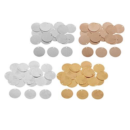 harayaa Paquete de 80 Etiquetas de Estampado Redondas de Monedas Plateadas, Colgantes en Blanco, Fornituras