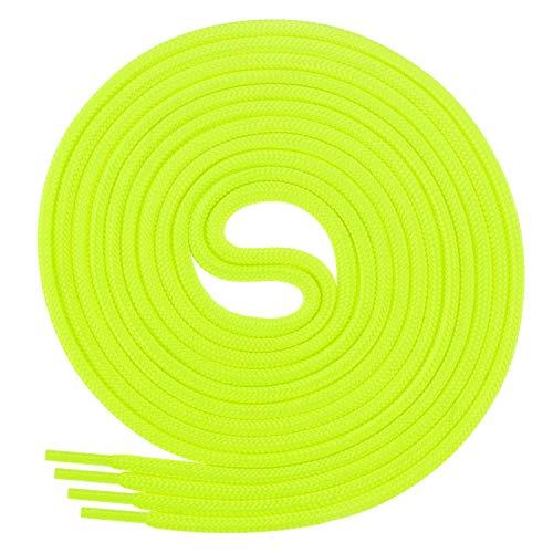 Di Ficchiano Schnürsenkel, Rundsenkel für Business- und Lederschuhe, reißfester Allroundsenkel, ø 3mm Farbe Neongelb Länge 120cm