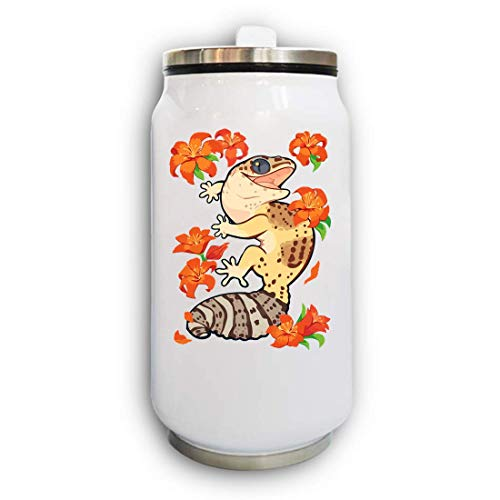 Iprints Cute Gecko and Flowers Artwork Thermal Beverage Can Thermos