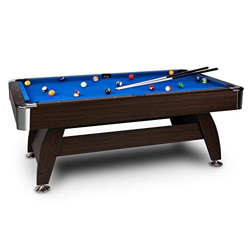 OneConcept Leeds - Billardtisch, Spieltisch, Pooltisch, MDF-Holz, Nussholzfurnier, Blaue Bespannung, interner Ballrücklauf, 16 Kunststoffkugeln, Kugeldreieck, 2 x Kreideblock, braun