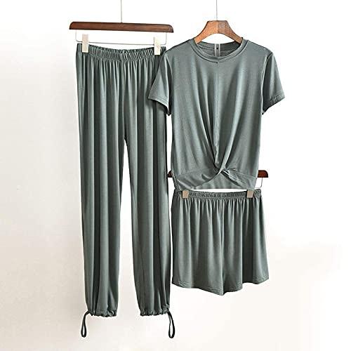 YLGAN Pijamas para Mujer, Otoño Modal Ropa para el hogar para Mujer Pijamas Conjunto de Pantalones Camiseta de otoño 3 Piezas Ropa para el hogar Pijamas para Mujer Modal Lounge Wear Traje para el