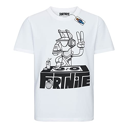 Epic Games T-Shirt Originale Fortnite Dj Lama Maglia Bianca Disc Jokey Maglietta Bambino Ragazzo (10-11 Anni)