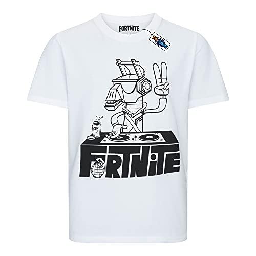 Epic Games T-Shirt Originale Fortnite Dj Lama Maglia Bianca Disc Jokey Maglietta Bambino Ragazzo (13-14 Anni)
