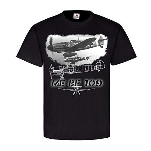 ME Bf 109 Jäger Luftwaffe Flugzeug Flieger Bild Foto-Druck Pilot T Shirt #21511, Größe:L, Farbe:Schwarz