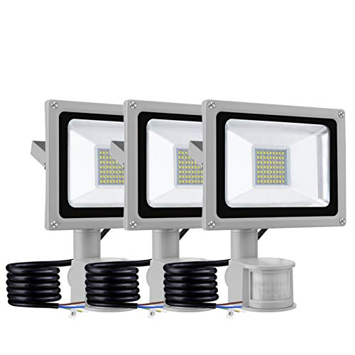 Jardín del LED luces de inundación 30W con sensor PIR, IP65 a prueba de agua Los bañadores de pared exterior, 2400LM 6500K Cold Light Focos, lámpara de seguridad fuera calles Paisajes,3 Pack