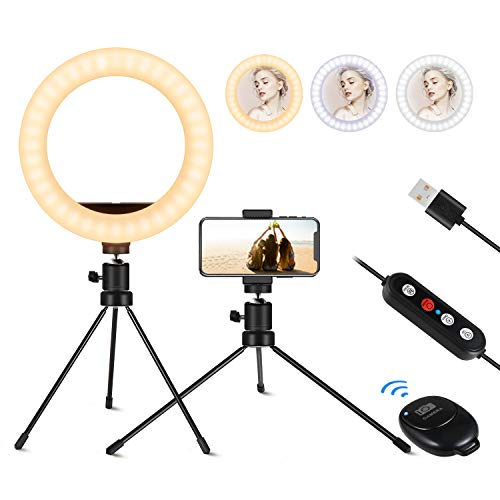 8 inch Selfie Ring Light, IUNUSI Mini Ring Light with Tripod Stand and Phone Holder for Live Steaming, Dimmable Desk Makeup Ringlight for Photography/Blogging/YouTube, Compatible with iPhone & Android