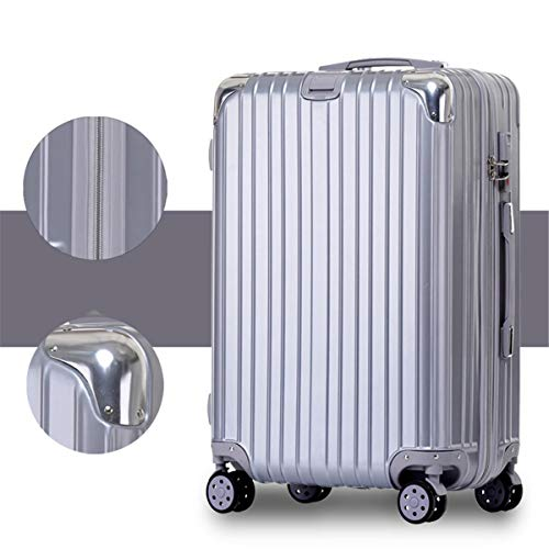 fosa1 Hand Luggage Trolley case ABS + PC Suitcase Boarding Bag, Alloy Angle Zipper Cart Universal Wheel, 20, 22, 24, 26 Inches (Color : Silver, Size : 24inch)