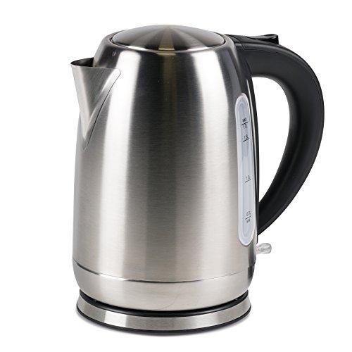 #0618 Kompakter, kabelloser Camping Wasserkocher 1,7 Liter Edelstahl nur 1000W • Tee Kessel Wasserkessel Küche Outdoor 1,7L Silber