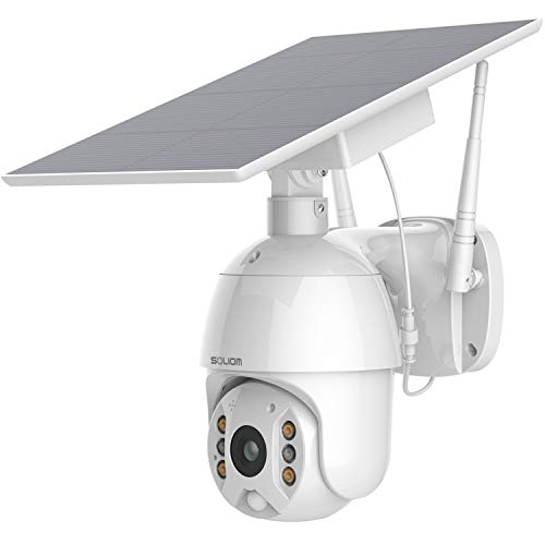 Security Camera Outdoor,Wireless WiFi Pan Tilt Spotlight Solar Battery Powered Motion Detection Home IP Camera with Color Night Vision,2.4G WiFi ,Secure Cloud/Sd Slot Storage -SOLIOM S600