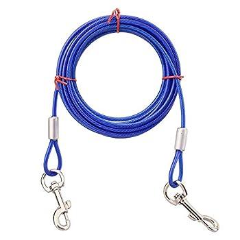 Sobotoo Câble d'attache pour Chien Heavy Duty Laisse de chaîne pour Chien pour Petits Chiens de Taille Moyenne, jusqu'à 176 Livres (3M, Bleu)