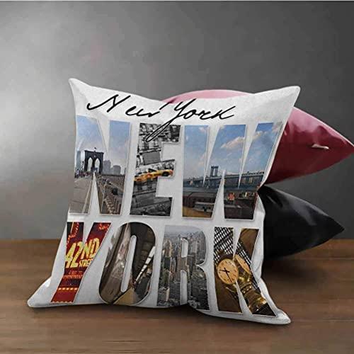 Funda de cojín de Nueva York Collage Decorativo de la Ciudad de Nueva York con Diferentes áreas del Gran Manhattan Utilizado para sofá, Oficina, Ropa de Cama, automóvil y sofá Multicolor
