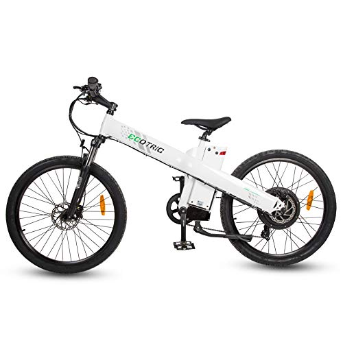 ECOTRIC 26' Powerful Ebike Electric Mountain Bicycle 48V/13AH 1000W Motor Removable Battery Aluminum Alloy Frame City Tire LED Display Throttle and Peddle Assist Power(White)