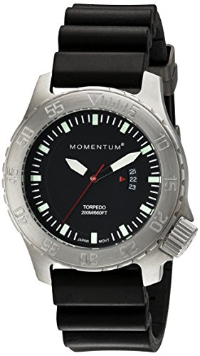 Men's Sports Watch | Torpedo Dive Watch by Momentum | Stainless Steel Watches for Men | Analog Watch with Japanese Movement | Water Resistant (200M/660FT) Classic Watch - Black / 1M-DV74B1B