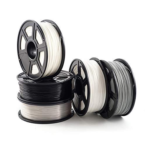 Filamento De Impresión 3D De ABS 1.75mm, Impresión 3D Filamento ABS 1kg Material De Impresión De Carrete, Usado Para Impresora 3D Y Pluma De Impresión 3D, Combinación De 5 Filament(Size:5 rolls 1 set)