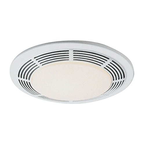 Broan-Nutone 8663RP Bathroom Exhaust Fan and 100-Watt Incandescent Light with Glass Lens, 5.0 Sones, 100 CFM