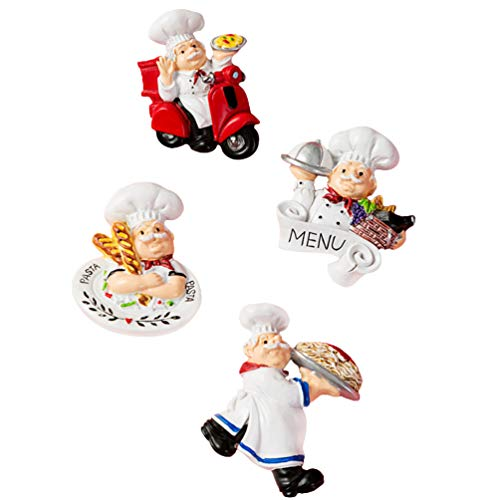 SOLUSTRE 4Pcs Chef Kühlschrank Magnet Kühlschrank Magneten Italienisch Französisch Chef Figurine Statue Home Küche Restaurant Dekorationen 3D Harz Baker Magneten Wand Dekore (Gemischte
