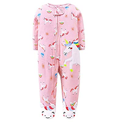 JinBei Pelele Bebe Niña Mameluco Footies Algodon Pijama Recien Nacido Mamelucos Manga Larga Mono Caricatura Trajes Envuelva el pie Cremallera Pijamas, Patrón de Unicornio Rosa 0-3 Meses