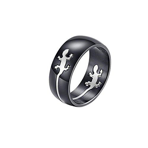 Fengteng Silber Farbe Herren Ringe Hohl Motiv Echse Eidechse Ring Cut Out Gecko Band Durchbrochenes Motiv Salamander Fingerring Schmuck Geschenk (62 (19.7))