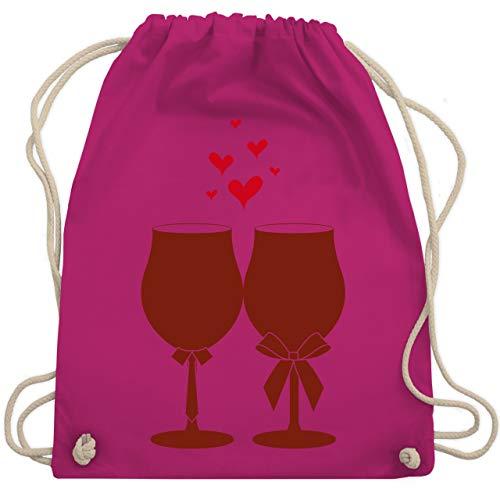 Shirtracer Symbole - Weingläser Wein - Unisize - Fuchsia - turnbeutel wein - WM110 - Turnbeutel und Stoffbeutel aus Baumwolle