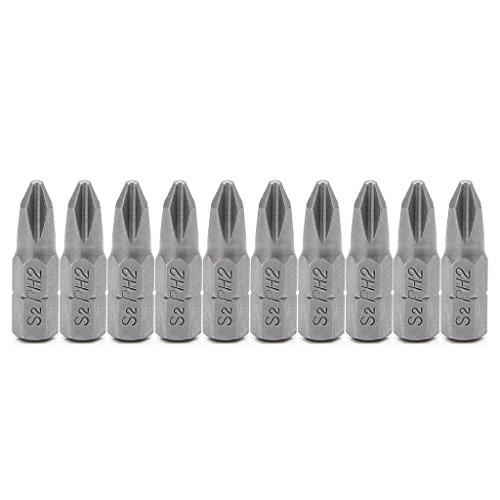 Ontracker 10 puntas de destornillador de acero S2, 25 mm, vástago hexagonal, PH2, antideslizantes, magnéticas