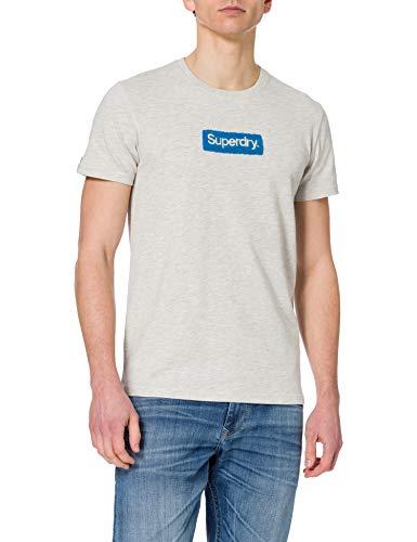 Superdry M1011006A Camiseta, Off White Marl, L para Hombre