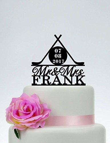 Tortenaufsatz für Hockey-Kuchen, Motiv: Mr and Mrs, Hockey-Fan, Hochzeit, Hockey-Fan, Hochzeit, Hockey-Party, Kuchen Topper