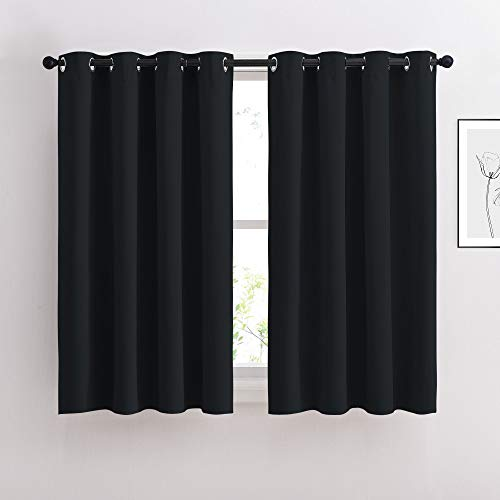 NICETOWN Black Out Curtains for Living Room - Easy Care Solid Thermal Insulated Grommet Blackout Panels/Drapes for Bedroom Window (2 Panels, 52 inches Wide by 54 inches Long)