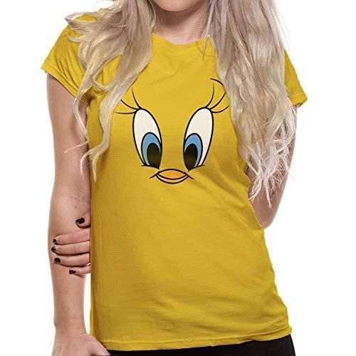 Looney Tunes - Camiseta con la Cara de Piolín para Mujer señora (XXL) (Amarillo)