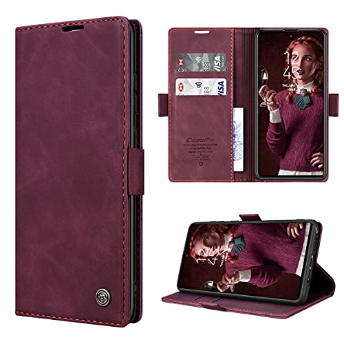 RuiPower Handyhülle für Samsung Galaxy Note 10 Lite Hülle Premium Leder PU Flip Hülle Wallet Lederhülle Klapphülle Magnetisch Silikon Bumper Schutzhülle für Samsung Note 10 Lite Tasche - Wein Rot
