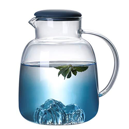 QAX 1800ml Botella de Cristal con Tapa,Jarra Agua Estilo Moderno para Agua Fría Hielo Té Vino Café Leche y Jugo Bebida,Kettle