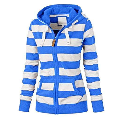 LONUPAZZ Femme Sweatshirt Zippe Pull à Capuche Rayure Manteau Veste Casual Slim Jumper Blouson Tops Hiver