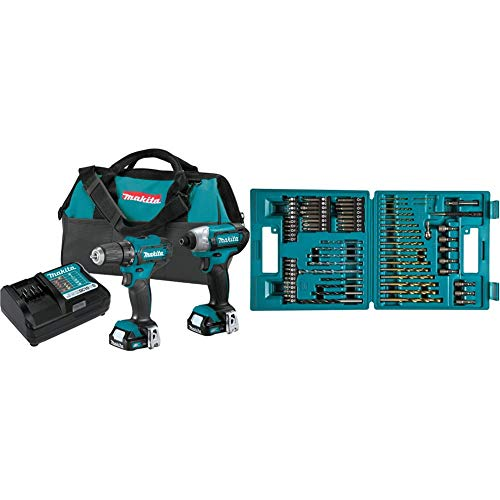 Makita CT232 12V Max CXT Lithium-Ion Cordless 2-Pc. Combo Kit (1.5Ah) & B-49373 75 PC Metric Drill and Screw Bit Set