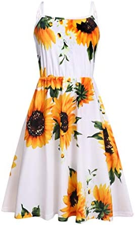 Arhiner Girls Cami Dress for Kids Floral Printed Beach Sleeveless Dresses Sunflower 12 13Y product image