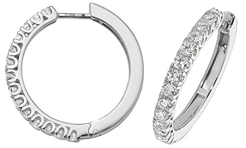 Orecchini a Cerchio da Donna in Oro bianco 18k (750) e Diamante Brillante 1.07 Carat G - SI VS - 23mm*23mm, 5 Grammi WJS2835