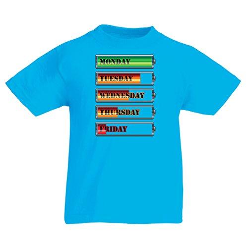 Kinder T-Shirt Wöchentlicher Power Workout Zeitplan (7-8 Years Hellblau Mehrfarben)
