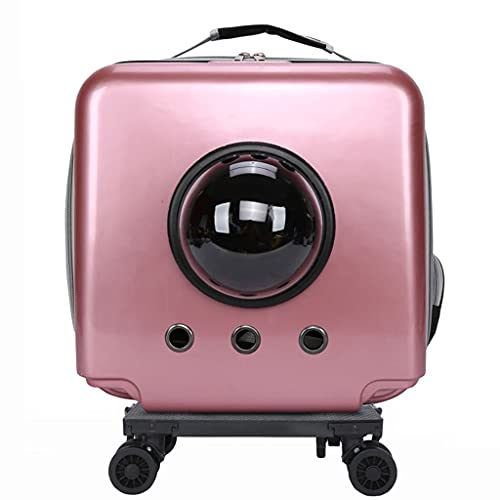 LSJQ Porta Mascotas Impermeable y Transpirable, Maleta con Ruedas para Mascotas Space Cabin, Adecuada para Mascotas de Menos de 15 LB (7 kg)