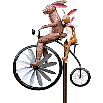 Metal Wind Spinner with Standing Vintage Bicycle Bicycle Metal Windmill Handmade Bike Frog Cat Bunny Mantis Sculpture for Garden Yard Lawn Decoration