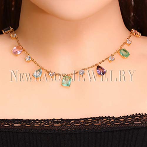 LIUL Collar de Gargantilla de Piedra de circonita Multicolor Collar de Piedra de Cristal Natural Colorido para joyería de Mujer 50 CM